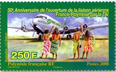 Polynésie Française, Double émission Timbre N°2