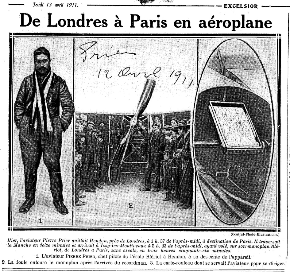Londres- Paris, 1ère en Avion en 1911 : Pierre Prier