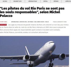 Rio Paris : les pilotes pas seuls responsables (La Dépêche, 6 septembre 2019 MP)