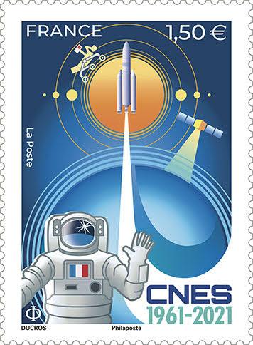 CNES 60 ans et un timbre de la Poste (2021)