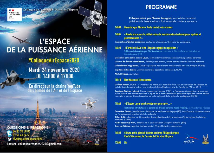 L'Espace de la Puissance Aérienne. Colloque 24 novembre 2020.